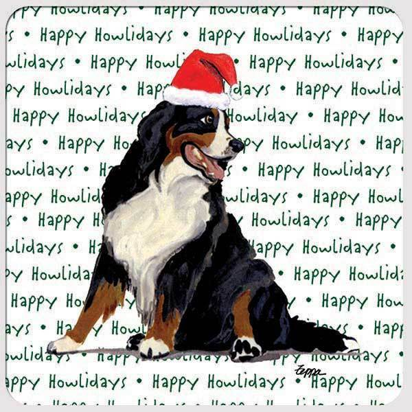 "Bernese Mountain Dog ""Happy Howlidays"" Coaster"