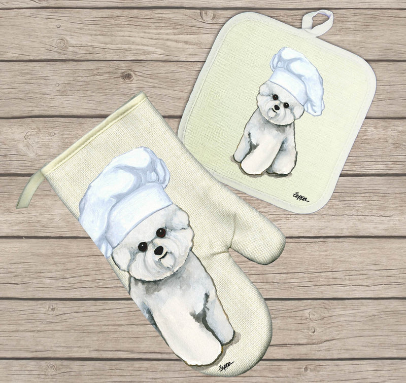 Bichon Frise Oven Mitt and Pot Holder