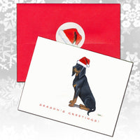 Black and Tan Coonhound Christmas Note Cards