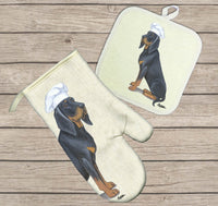 Black and Tan Coonhound Oven Mitt and Pot Holder