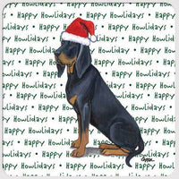 "Black and Tan Coonhound ""Happy Howlidays"" Coaster"