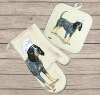 Bluetick Coonhound Oven Mitt and Pot Holder