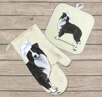 Border Collie Oven Mitt and Pot Holder