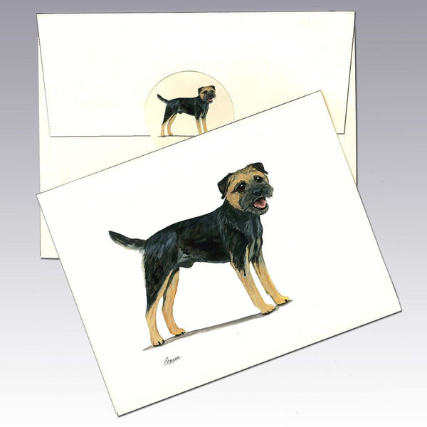 Border Terrier, Black and Tan Note Cards