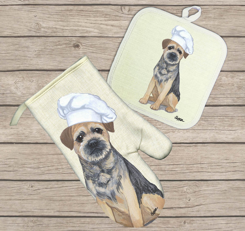 Border Terrier Oven Mitt and Pot Holder