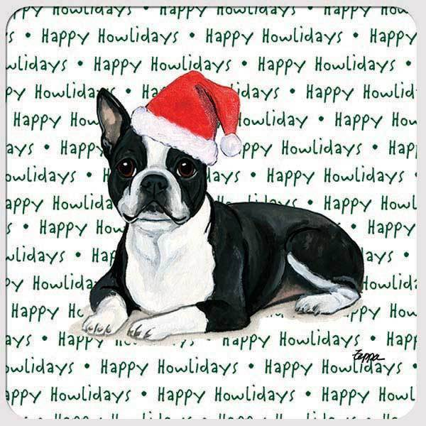 "Boston Terrier, Lying Down ""Happy Howlidays"" Coaster"