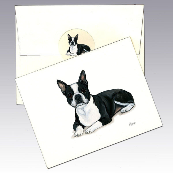 Boston Terrier, Lying Down Note Cards