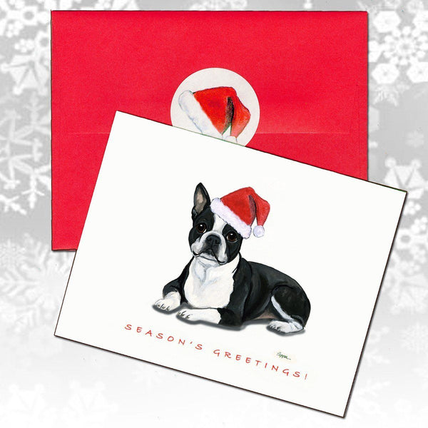 Boston Terrier, Lying Down Christmas Note Cards