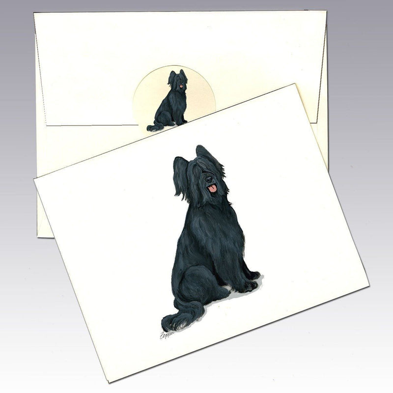Briard, Black Note Cards