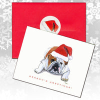 Bulldog Christmas Note Cards