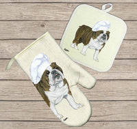 Bulldog Oven Mitt and Pot Holder