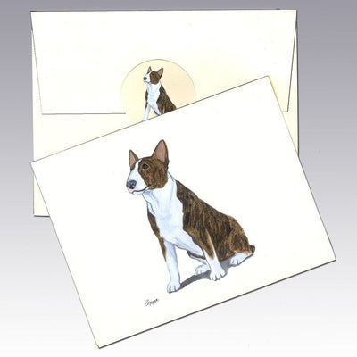 Bull Terrier, Brindle and White Note Cards