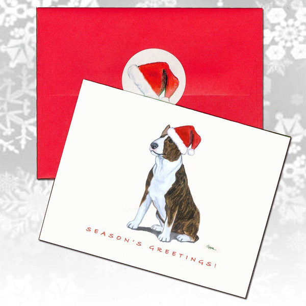Bull Terrier, Brindle and White Christmas Note Cards
