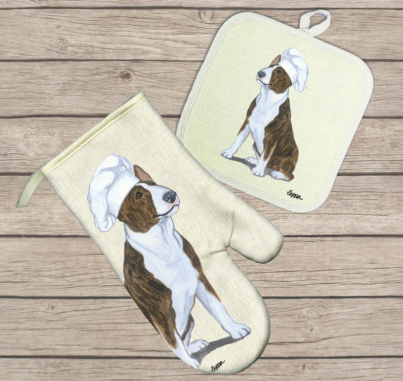 Bull Terrier Oven Mitt and Pot Holder