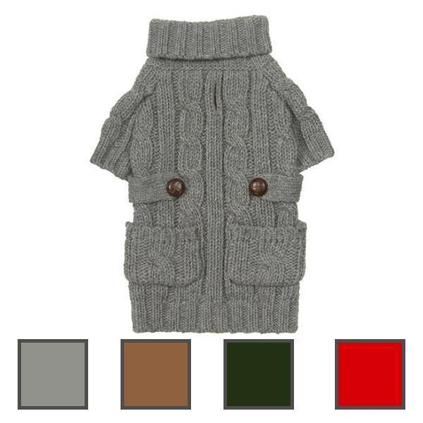 Pocket Cable Knit Dog Sweater