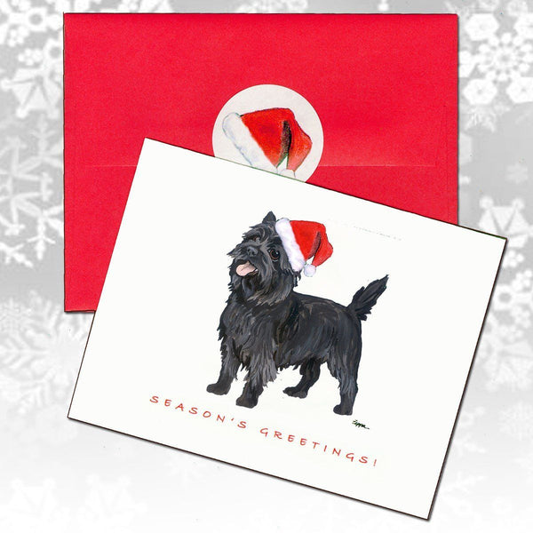 Cairn Terrier, Black Christmas Note Cards