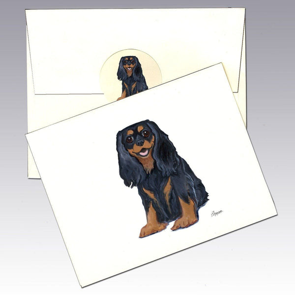 Cavalier King Charles Spaniel, Black and Tan Note Cards