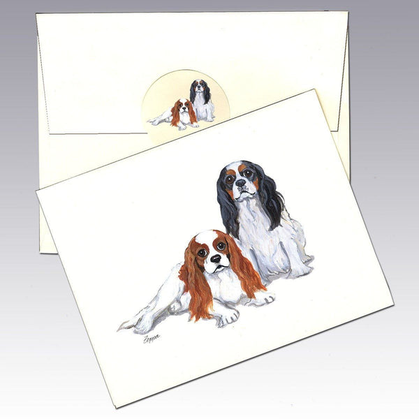 Cavalier King Charles Spaniel Pair Note Cards