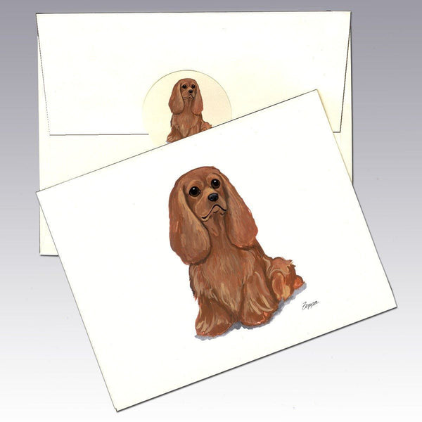 Cavalier King Charles Spaniel, Ruby Note Cards