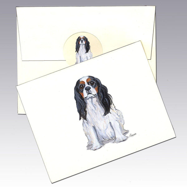 Cavalier King Charles Spaniel, Tri Color Note Cards