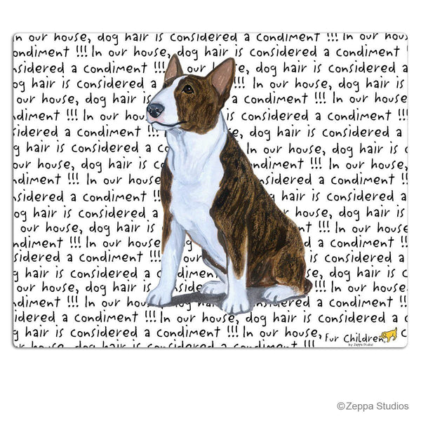 Bull Terrier, Brindle and White Cutting Board