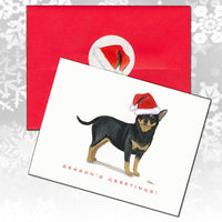 Chihuahua, Black and Tan Christmas Note Cards