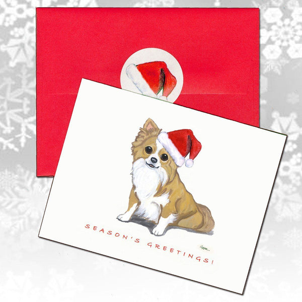 Chihuahua, Long Haired Christmas Note Cards