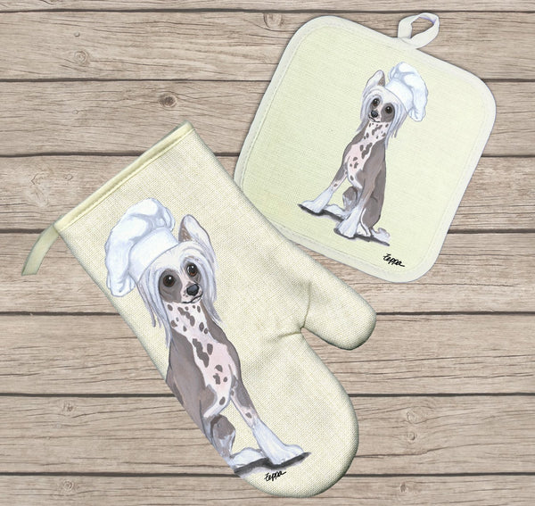 Chinese Crested Oven Mitt and Pot Holder