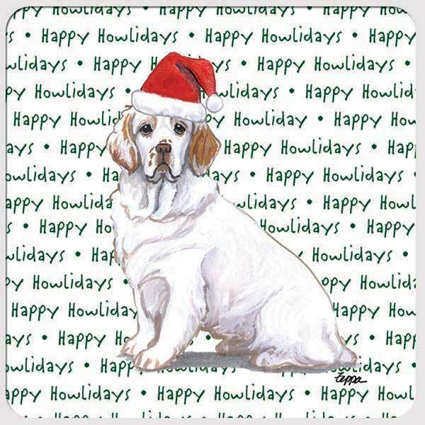 "Clumber Spaniel ""Happy Howlidays"" Coaster"