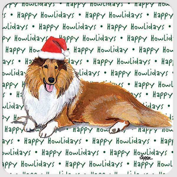 "Collie ""Happy Howlidays"" Coaster"