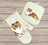 Collie Oven Mitt and Pot Holder