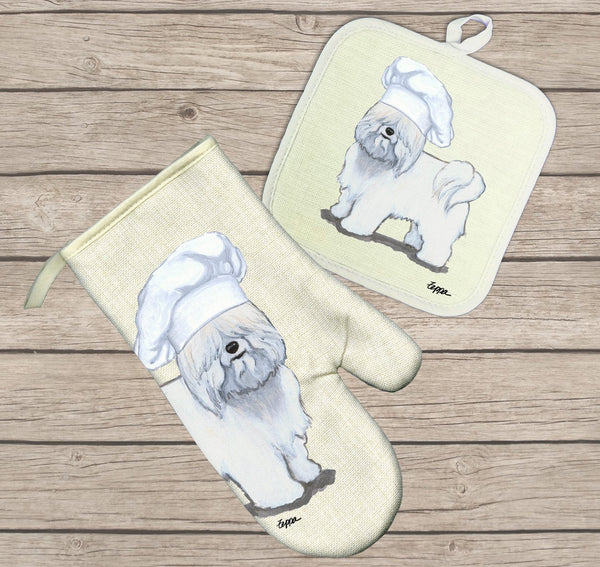 Coton du Tulear Oven Mitt and Pot Holder