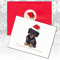 Dachshund, Black and Tan Christmas Note Cards