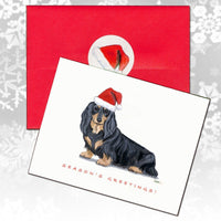 Dachshund, Black and Tan Longhair Christmas Note Cards