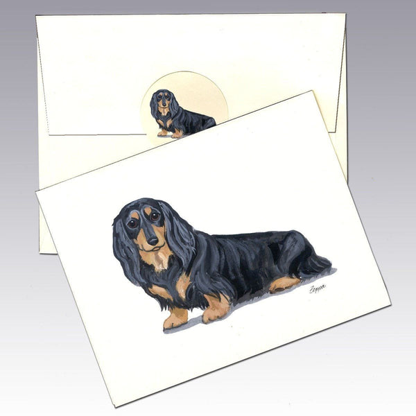 Dachshund, Black and Tan Longhair Note Cards