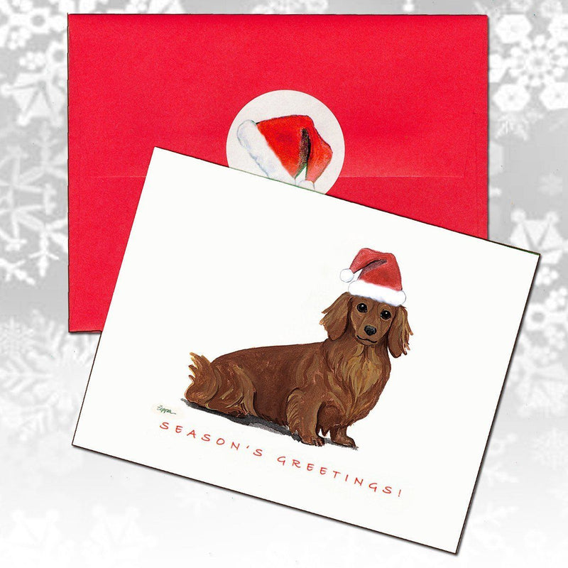 Dachshund, Red Long Hair Christmas Note Cards
