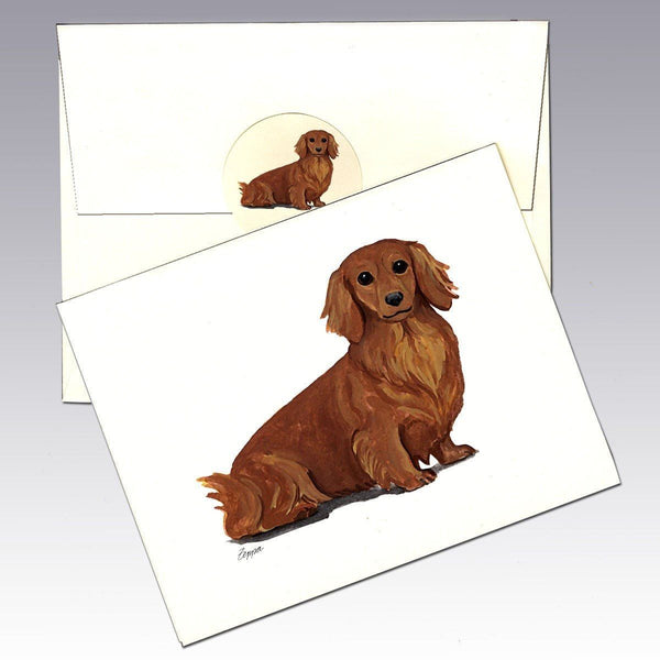 Dachshund, Red Long Hair Note Cards