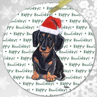 "Dachshund, Black and Tan ""Happy Howlidays"" Ornament"