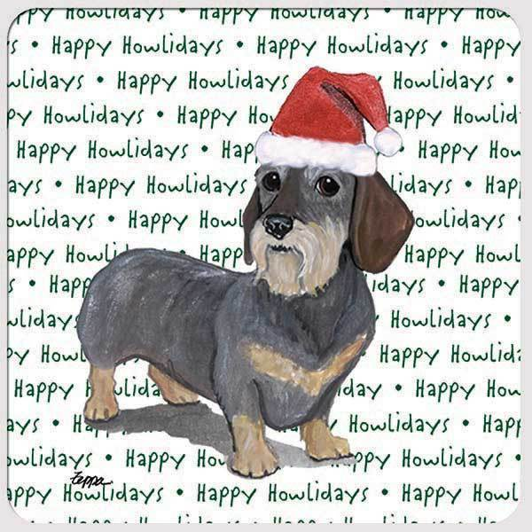 "Dachshund, Wirehaired ""Happy Howlidays"" Coaster"
