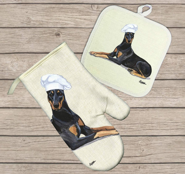 Doberman Pinscher Oven Mitt and Pot Holder
