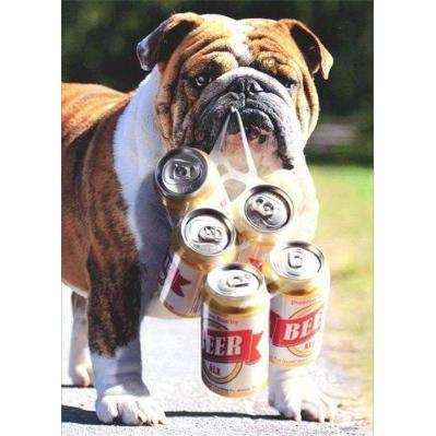 Dog Carries Six Pack - Father's Day Card