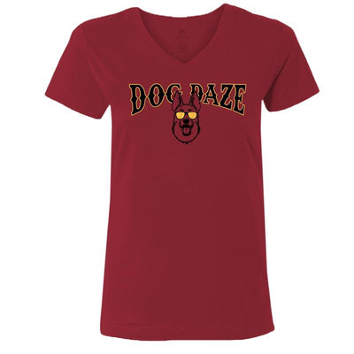 Dog Daze - German Shepherd Dog - Ladies T-Shirt V-Neck