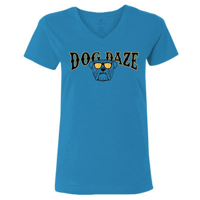 Dog Daze - Bulldog - Ladies T-Shirt V-Neck