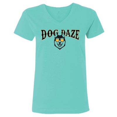 Dog Daze - Siberian Husky - Ladies T-Shirt V-Neck