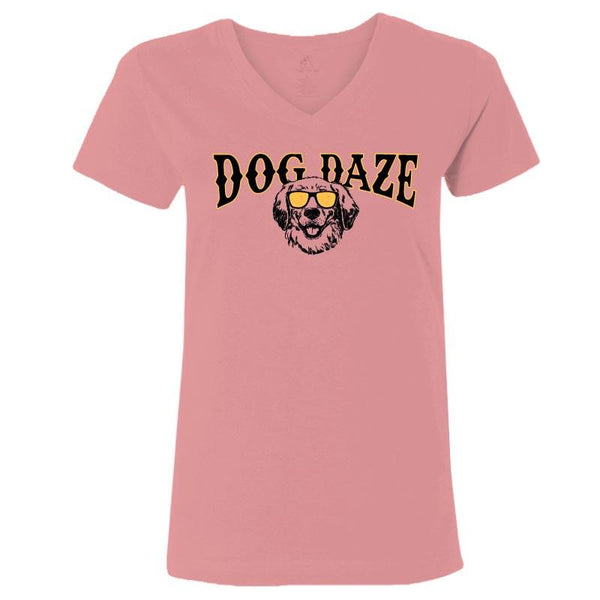 Dog Daze - Golden Retriever - Ladies T-Shirt V-Neck