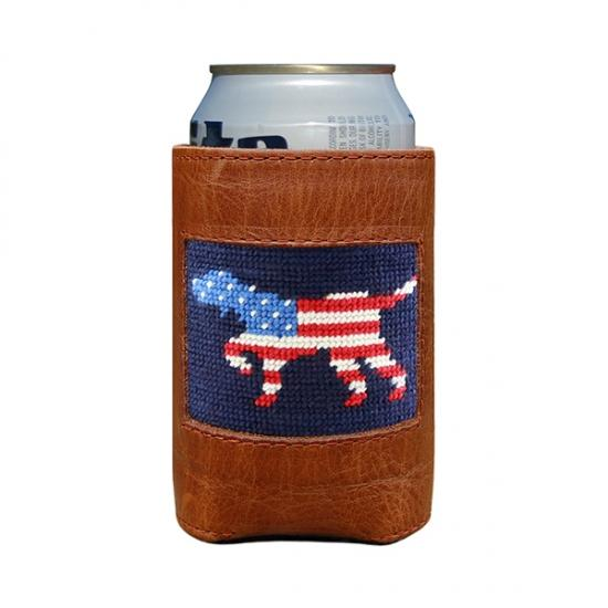Patriotic Dog Needlepoint Can Cooler