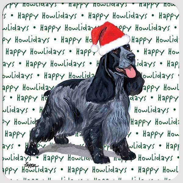 "English Cocker Spaniel ""Happy Howlidays"" Coaster"