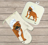 Staffordshire Bull Terrier Oven Mitt and Pot Holder