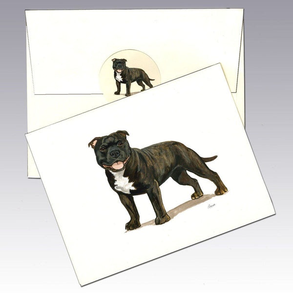 English Staffordshire Terrier, Brindle Note Cards