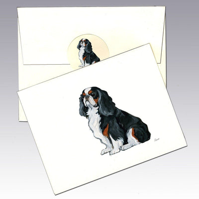 English Toy Spaniel, Tri Color Note Cards